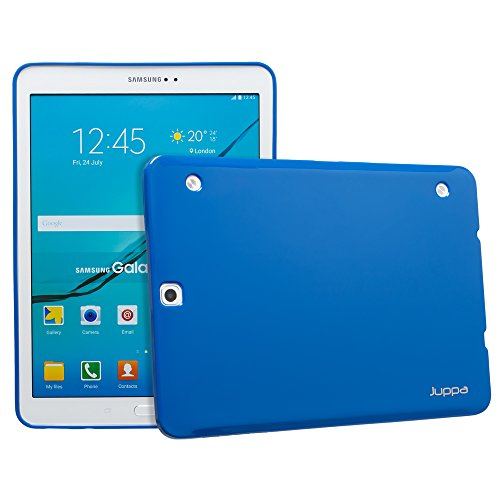 Juppa Samsung Galaxy Tab S2 9.7 Inch SM-T710 SM-T715 Ultra Slim Fit TPU Rubber Gel Case Cover with Screen Protector, Micro Fibre Cloth & Application Card (Blue)