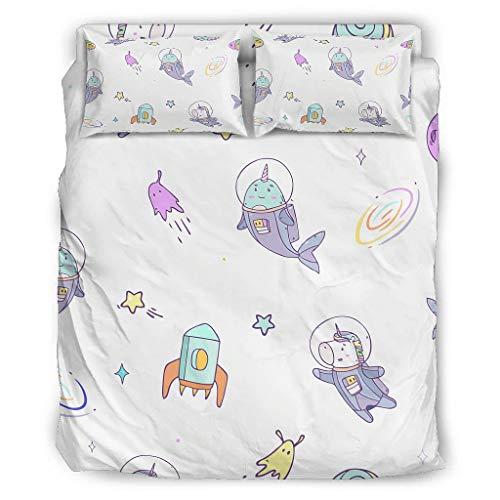 Space Einhorn Vierteiliges Bett Cal King Bett-Bezug 4 Teilig mit Reißverschluss Enthalten Bunt 1 Bettbezug & 1 Bettdecke & 2 Kopfkissenbezug White 228x228cm