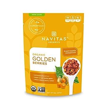 Navitas Organics Goldenberries 8 oz Bag 8 Servings — Organic Non-GMO Sun-Dried Sulfite-Free  Pack of 1