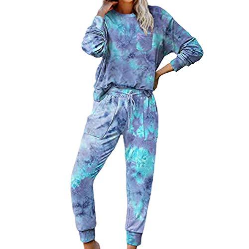 Damen Herbst und Winter Baumwolle Langarm Tie Dye Sportswear Home Wear Casual Printed...