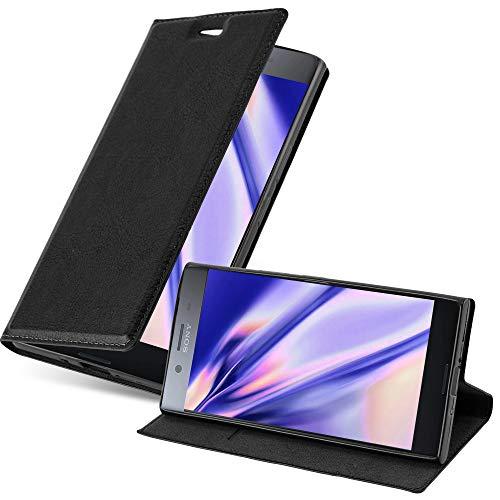 Cadorabo Hülle für Sony Xperia XZ Premium in Nacht SCHWARZ - Handyhülle mit Magnetverschluss, Standfunktion & Kartenfach - Hülle Cover Schutzhülle Etui Tasche Book Klapp Style
