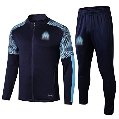 BVNGH Marsella - Traje de entrenamiento de camiseta de fútbol, manga larga para hombre, transpirable y cómoda (S-XXL), color azul