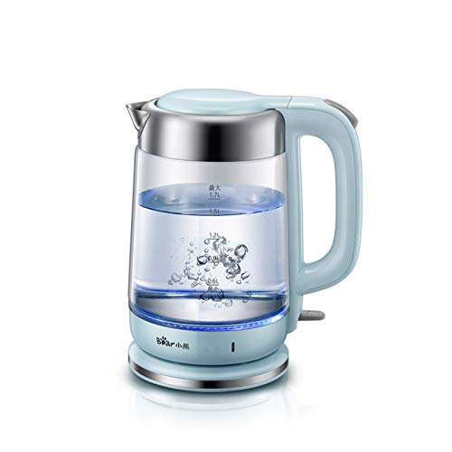 Bear Glass Kettle, 1.7 L 1800 W Electric Kettle with LED Display, Stainless Steel Lid and Kettle with Removable Base, Rotates 360 Degrees, BPA-Free [CE ERP FDA Certification]