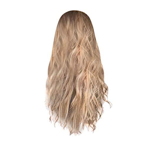 POTOU Lace Front Perücken Blonde Perücke, 24 Zoll lang gerade Mitte Teil Synthetic Full Perücke Fashion Ash Blonde 2 Tones mit Braun Wurzeln für Damen