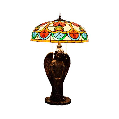 PYROJEWEL modern Baroque Angel Art Stained Glass Desk Lamp for Living from vintage bedside lamp Room Indoor Table Lamps