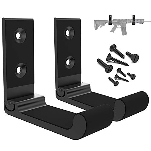 Aoanoko Indoor Gun Rack Wall Mount Scratchproof Rubber Cushion Foldable Hook for Protection of Rifle, Shotgun, Archery Bow, 20lbs Holding Strength Holder Easily Installed on Wall, Door, Desk, Shelf