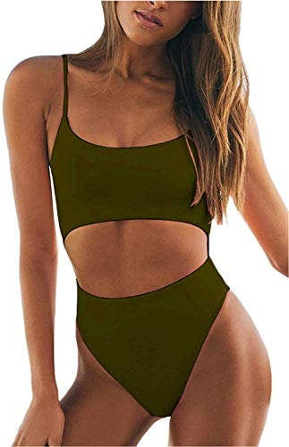 Meyeeka Athletic One Piece Bathing Suit for Women Hollow Out Backless High Cut Monokini Swimsuit Army Green
