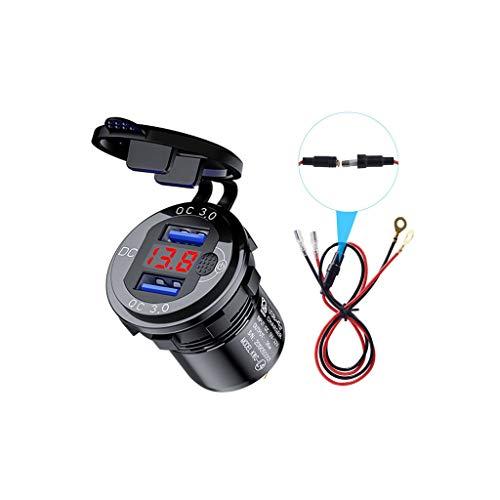 XIAOSHA 12V 24V Aluminum Waterproof Dual QC3.0 USB Quick Charger Socket LED Voltmeter Switch Cable for Cars SUV, Aluminum, Black, Bleu, Rouge or 50x36.8x28.6mm
