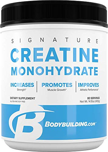 Bodybuilding Signature Micronized Creatine Monohydrate Powder, Pure Creatine, Muscle Builder, Increases Strength, Promote Performance Recovery, No Gluten, No Soy, 400 Grams, 80 Servings, Unflavored