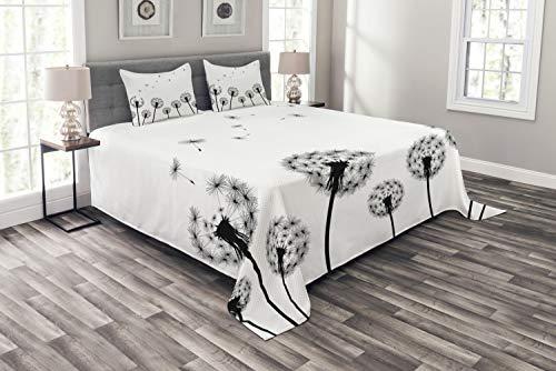 ABAKUHAUS Zestaw pościeli z dmuchawcem, zestaw z poszewkami na poduszki, kołdra letnia, do łóżek dwuosobowych 264 x 220 cm, biało-czarna