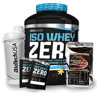 Biotech USA Iso Whey Zero (1 x 2.27 kg) + Shaker + 200 Amino Tabs 1600mg + Proben (Vanille)