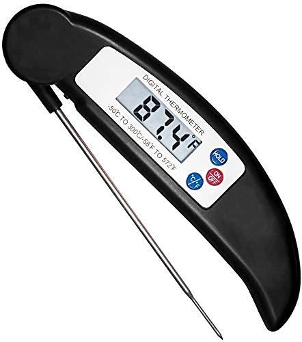 flintronic Termometro per Carne, Lettura Istantanea LCD Termometro Forno, 12CM Sonda Lunga Pieghevole e Magnetico Termometro per BBQ, Carne, Latte, Olio, Acqua Bagno, Zuppa(Batteria Non Inclusa)