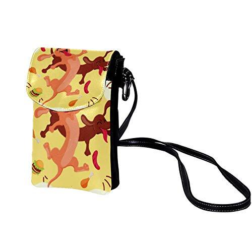 sac de messager léger mignon pour les filles et femmes anti-vol zip Sacs bandoulière pour les hommes et les garçons école sac de téléphone sac à main fonctionnelle Animal-Joyful-Dogs 19x12x2cm
