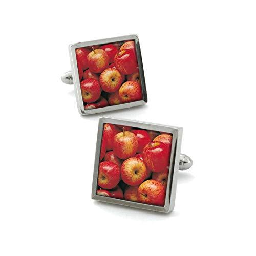 Robert Charles. Boutons de Manchette. Apple, Acier rhodié. Rouge, Motifs.