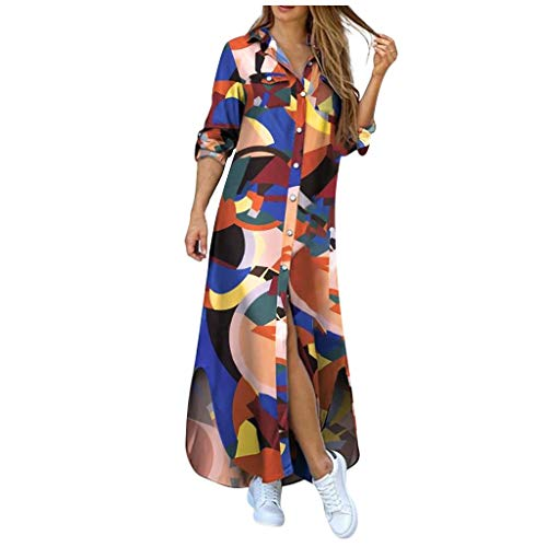 WOYAOFEI Women's 3/4 Sleeve Striped Nightdress with Button Placket and Pocket Pregnancy Nightdress with Breastfeeding Function Elegant Sleepwear with Short V-Neck S-XXL - Multicolour - S
