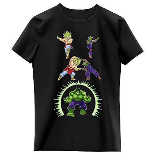 Okiwoki T-Shirt Enfant Fille Noir Parodie DBZ, l'incroyable Hulk - Piccolo, Broly et Hulk - Les origines de la Puissance. (T-Shirt Enfant de qualité Premium de Taille 7-8 Ans - imprimé en France)