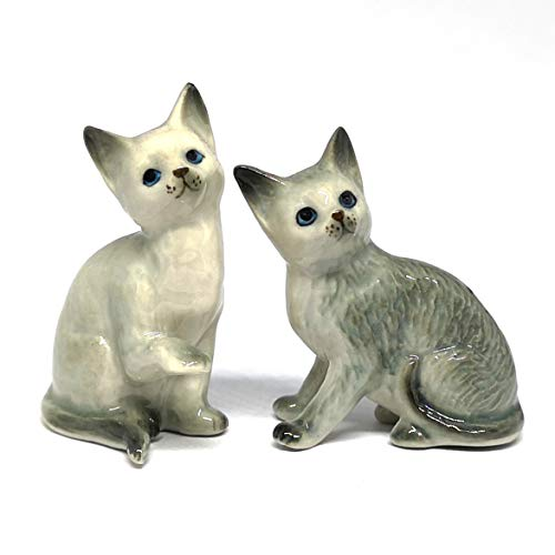 ZOOCRAFT Katzenfigur, Keramik, Porzellan, Grau, handgefertigt, Miniaturen, Sammlerstück, Heimdekoration, 2er-Set