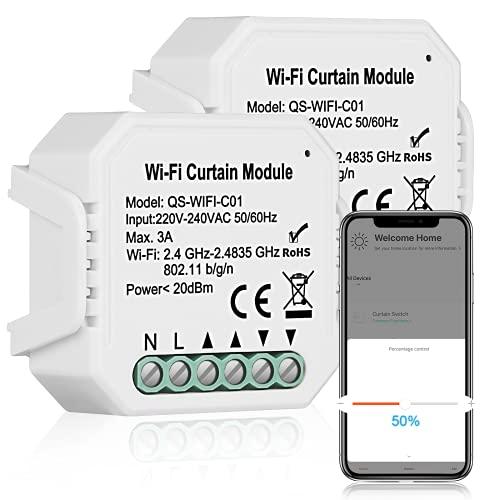 WiFi Schalter Relais Modul, TEEKAR Prozent Steuerung WLAN Rolladenschalter mit Timer-Funktion, Voice APP Steuerung Rollladenschalter Modul Kompatibel mit Tuya, Alexa und Google Home (2 Packung)
