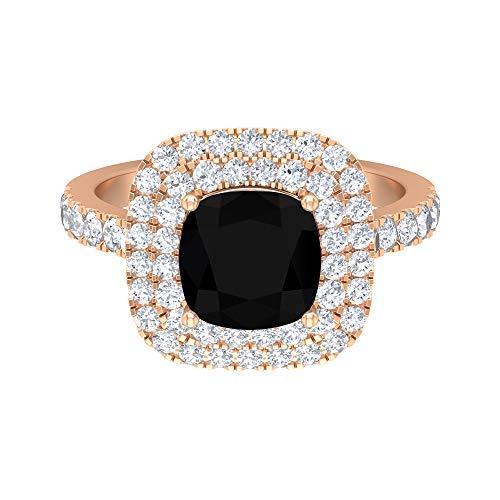 Anillo de compromiso de doble halo de 3,75 CT para mujer con diamante negro creado en laboratorio y detalles de moissanita (8 mm de corte cojín, 14K Oro rosa, Size:EU 68