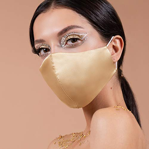 Wedding Gold Satin Silk Face Mask for Bride Groom US | 4 Layer Mouth Cover for Guests Bridesmaids | Breathable Washable Womens Masks with Filter Pocket | Reusable 1 PC Handmade in USA