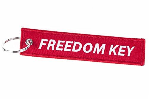 Freedom Key Schlüsselband, Schlüsselanhänger in Rot und Weiß für Wohnungsschlüssel, Auto, Motorad und vieles mehr!