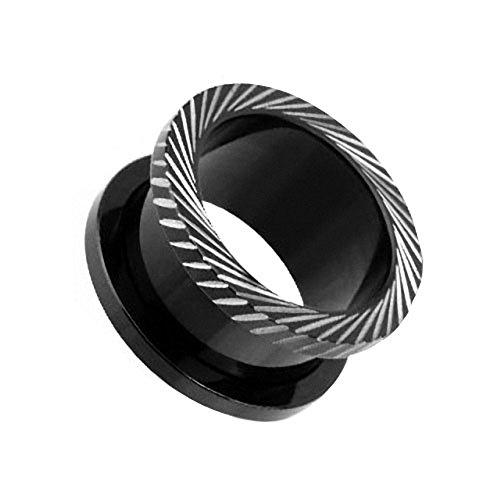 Piercingfaktor Flesh Tunnel Ohr Schraub Ear Plug Piercing Titan Schraubverschluss mit schrägen Rillen Schwarz 12mm