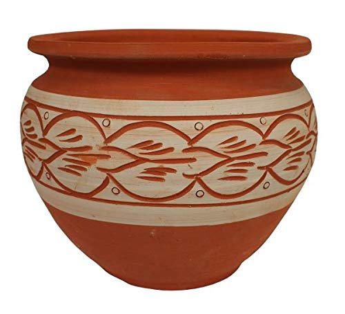 Saharashop Marokkanischer Keramik-Blumentopf Kora 2 Ton Natur