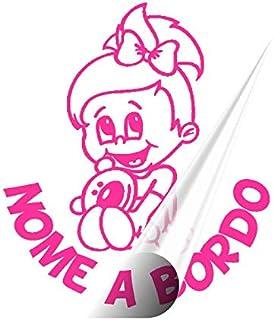 STICKEREDO Bimbo bimba bebè baby a bordo on board adesivo auto. adesivo bimbi a bordo con nome adesivo bebè per auto altez...
