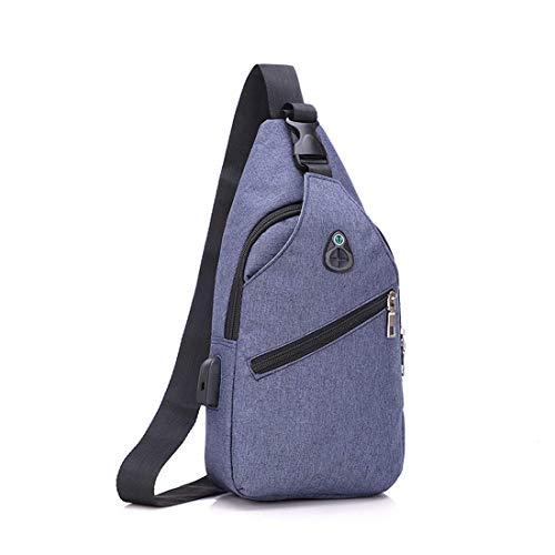 Bolsa de hombro confort Mochila Hombres y mujeres Deportes Gimnasio al aire libre Turismo Senderismo con USB Bolso de hombro del pecho de la carga del puerto Casual Messenger Bag Durable (Color: Grey)