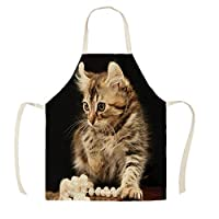 Aprons for Women, Aprons/Funny Lovely Cat Bib Aprons, Cotton Linen 3D Printed Aprons, Women/Men/Children/Home/Cooking/Baking/Artist Painting/Party/Anti-fouling Aprons/Restaurant, Crafts, Garden, BBQ, School , Coffee house ,55x68cm