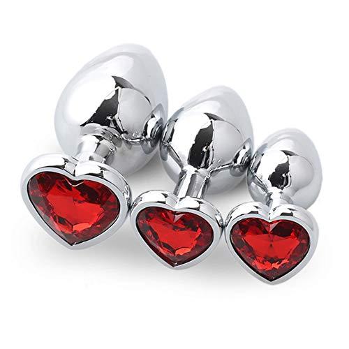 Cuentas de Vidrio en Forma de corazón de Rosa roja plùg-Metal