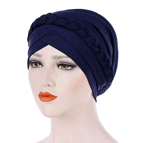 Vrouwen elegante stretch mulimische caps bloem eenkleurig turban chemo kanker muts hoed hoofddeksels