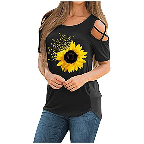 Camiseta de manga corta para mujer, diseño de girasol, estampado casual, camiseta de manga corta suelta, blusa túnica