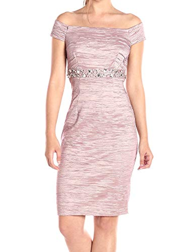 Eliza J Womens Off The Shoulder Beaded Sheath Short-Sleeve Dress - Pink -