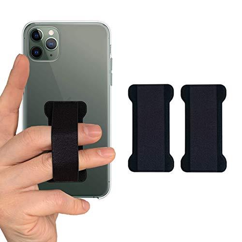 WUOJI - Finger Strap Phone Holder - Ultra Thin Anti-Slip Universal Cell Phone Grips Band Holder for Back of Phone -2Pack(Black)