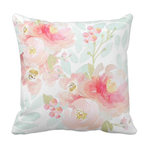 Emvency Throw Pillow Cover Watercolor Peonies Indy Bloom Pink Floral Girls Decorative Pillow Case Home Decor Square 20 x 20 Inch Pillowcase