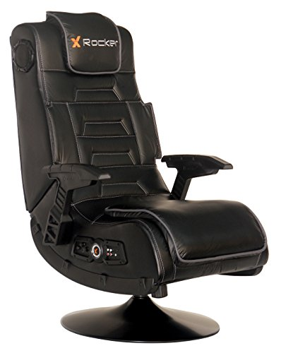 X Rocker Pro Series 2.1 Vibrating Black Leather Foldable Video Gaming Chair...