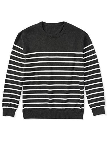 Amazon Essentials Men's Big & Tall Crewneck Sweater fit by DXL, Charcoal/White Mariner, 3XL