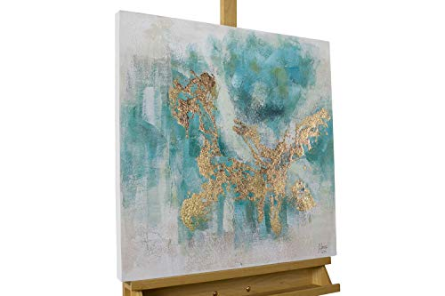 KunstLoft® Acryl Gemälde \'Schimmernder See\' 60x60cm | original handgemalte Leinwand Bilder XXL | Abstrakt Modern Gold Blau | Wandbild Acrylbild Moderne Kunst einteilig mit Rahmen