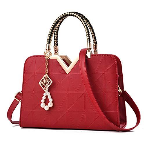 Women's Ladies Classic Pattern Pure Color Fashion Leisure Large Capacity Handbag Wine