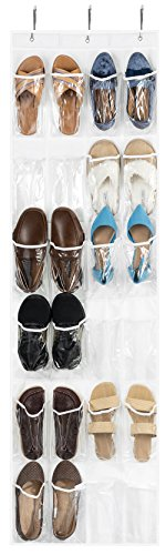 ZOBER Over The Door Shoe Organizer - 24 Breathable Pockets Hanging Shoe Holder for Maximizing Shoe Storage Accessories Toiletries Laundry Items 64in x 18in White Clear