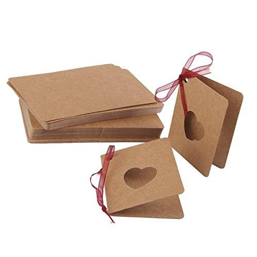 VORCOOL Etiqueta de la tarjeta de 50pcs etiqueta de colgar del papel de Kraft con la forma del corazón hueco de la cuerda roja Lable para la decoración del cumpleaños de la boda