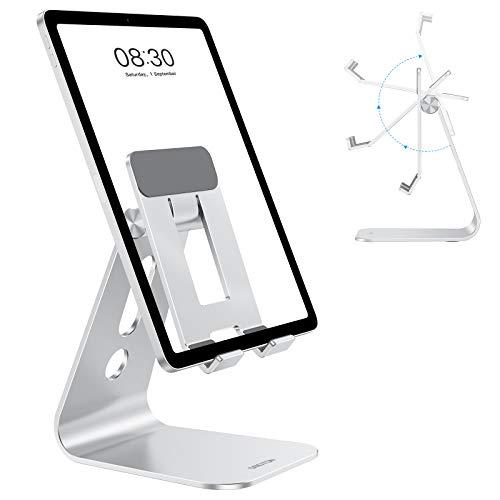 OMOTON Soporte Tablet Mesa, Ajustable Soporte Tablet, Soporte Móvil de Aluminio Compatible con iPad 2020, iPad Pro 10.5, 9.7, 12.9, iPad Mini 2 3 4, iPad Air, Air 2, Samsung Tab, iPhone, Plata