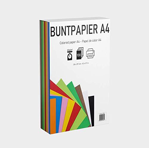 EAF supplies 100 Blatt buntes DIN-A4 Tonpapier, Set aus 10 Farben in 160g/m², Tonzeichenpapier bunt zum Zeichnen, Drucken, Basteln, DIY-Bedarf, Grußkarten und vielem mehr