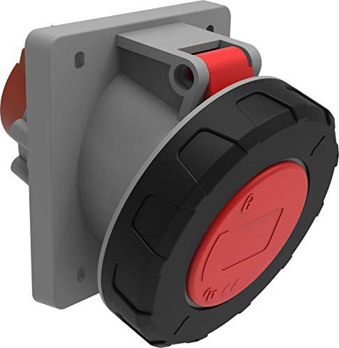 Bemis 45° Cee Einbausteckdose 4x63A. (3P+E) 380V. 50/60 Hz. 6h IP67 - Rot