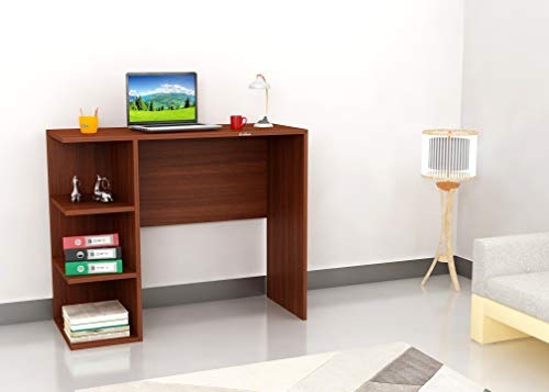 Anikaa Oftan Wooden Office Desk & Study Table with Storage Rack for Home & Office (Walnut)