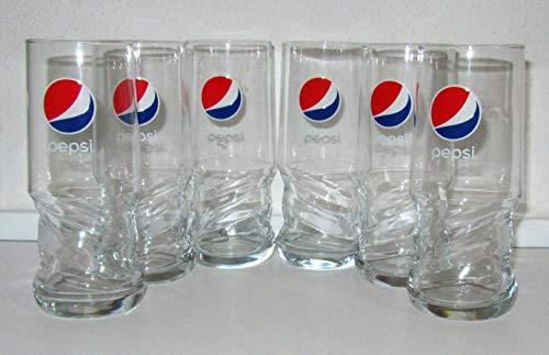 Vasos de cristal Pepsi-Cola, AXL, calibrados, 6 x 0,4 litros.