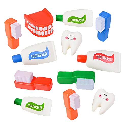 Kicko Assorted Dental Squishy Toys - Pack of 12, 2.25 to 4 Inches Squishy and Squeezable Dental Accessories - Perfect as Stress and Anxiety Reliever, Sensory Toy, Party Supply, Imaginative Play