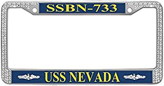 Gumibling USS Nevada SSBN-733 License Plate Frame, US Military USN Navy Rhinestones Crystal Stainless Steel Car Tag Frame