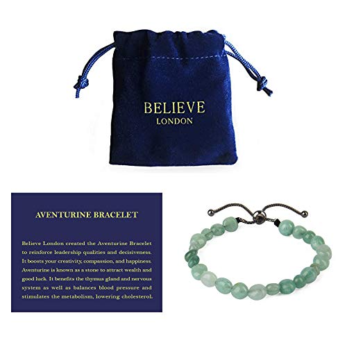 Believe London New Gemstone Healing Chakra Bracelet Anxiety Crystal Natural Stone Men Women Stress Relief Reiki Yoga Diffuser Semi Precious Adjustable (6 inches - 8.5 inches)